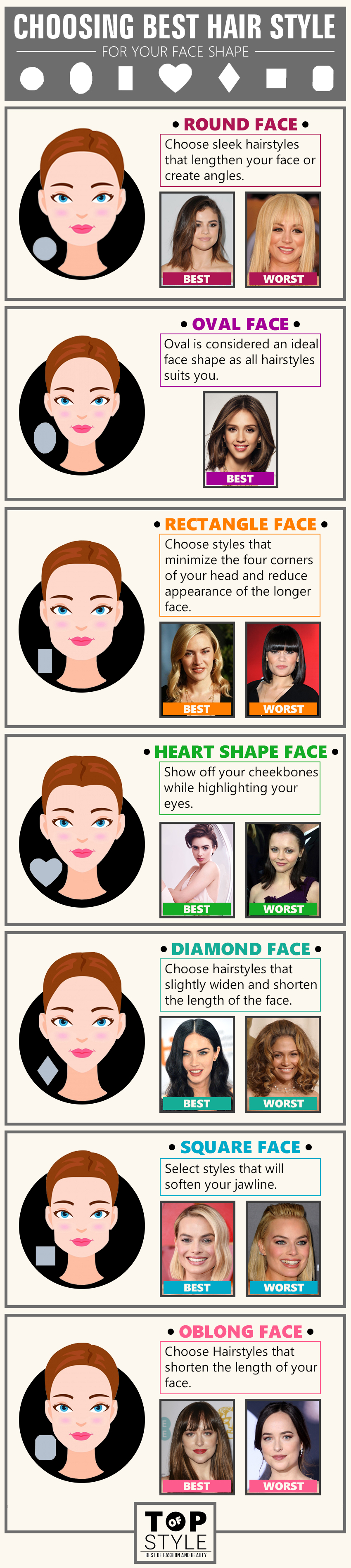 Best & Worst Hairstyles for Different Face Shapes of Women - TopOfStyle Blog