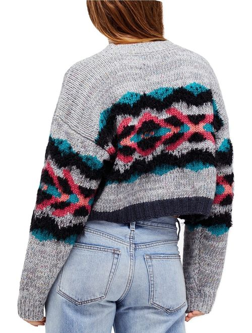 Free People Womens Large Cropped Knitted Sweater