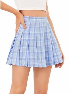 Women's Casual High Waist Plaid A Line Pleated Mini Skirt