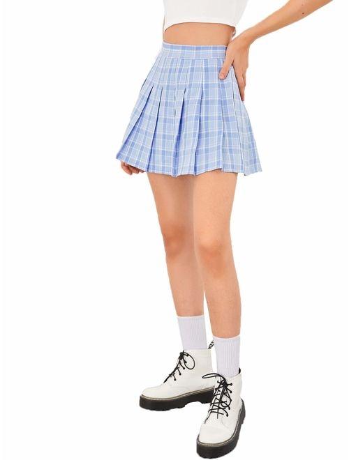 SweatyRocks Women's Casual High Waist Plaid A Line Pleated Mini Skirt