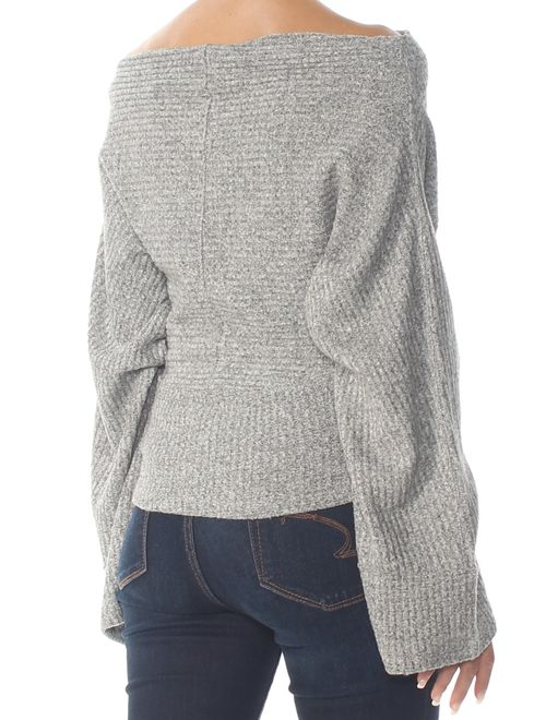 FREE PEOPLE Womens Gray Thermal Long Sleeve Sweater Size: S