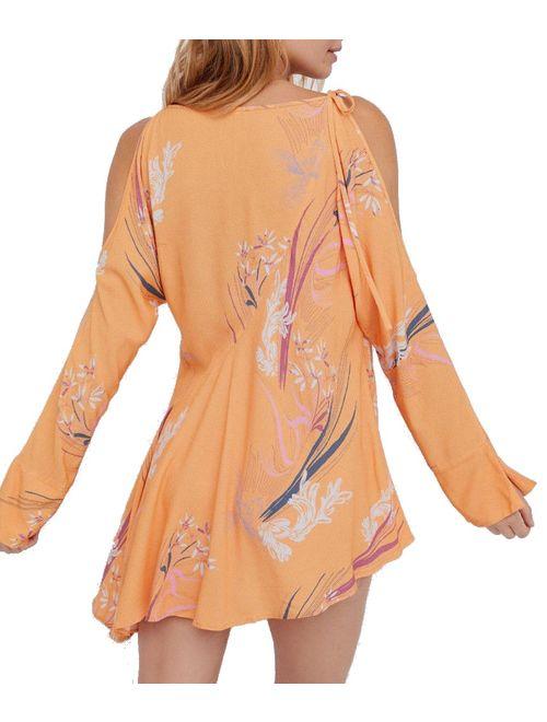 Free People NEW Orange Floral Print Women's Size Medium M A-Line Dress