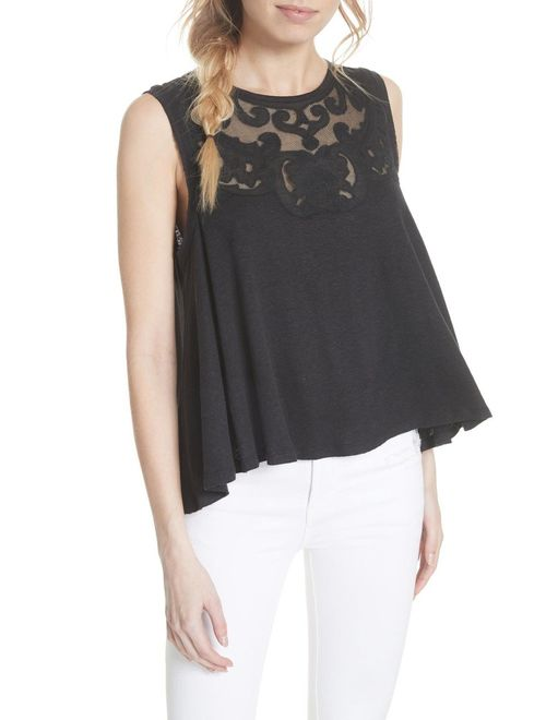 Free People Womens Meant to Be Swing Top M S Ivory Black
