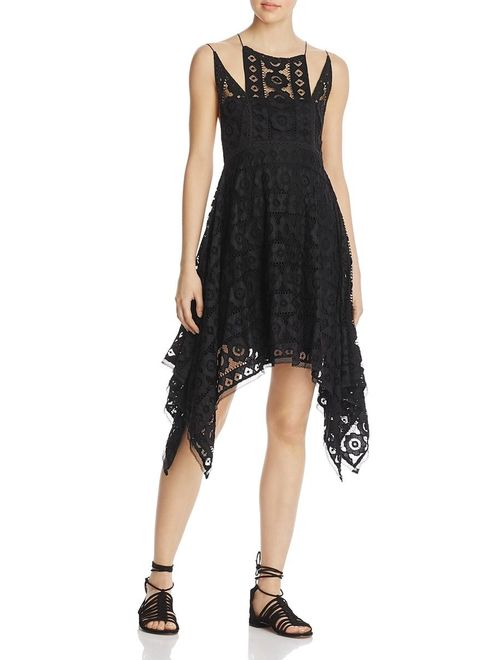Free People Womens Lace Sleeveless Cocktail Dress