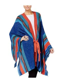 Womens Striped Tie-front Cardigan Sweater Bluecombo One Size