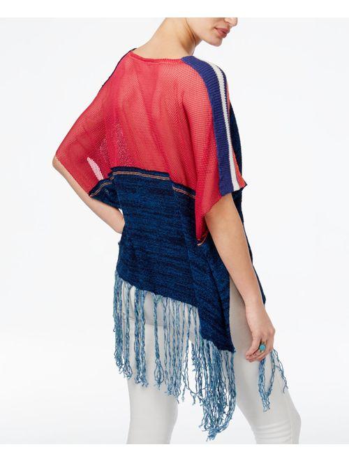 free people women's sunset fringe sweater blue combo medium/large