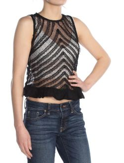 Womens Black Lace Sleeveless Jewel Neck Crop Top Party Top Size: Xs