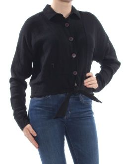 Womens Black Tie Front Long Sleeve Top Size: M