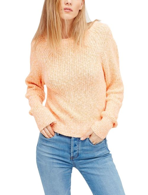 Free People Womens Knit Long Sleeves Pullover Sweater