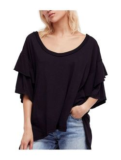 Free People Womens Abracadabra Basic T-Shirt