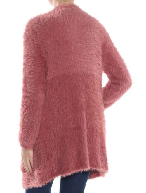 FREE PEOPLE Womens Pink Faux Fur Pocketed Cardigan Long Sleeve Sweater Size: XS