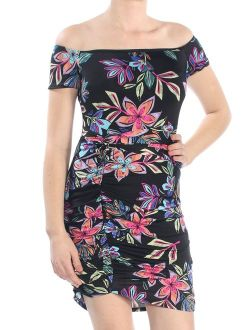 Womens Black Ruched Floral Short Sleeve Off Shoulder Mini Body Con Dress Size: Xs