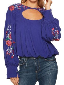 Womens Lita Embroidered Pullover Blouse