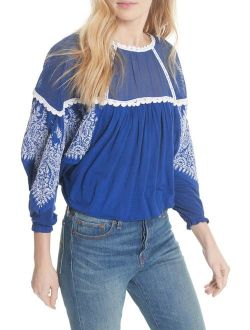 Carly Embroidered Contrast Top Blue Xs