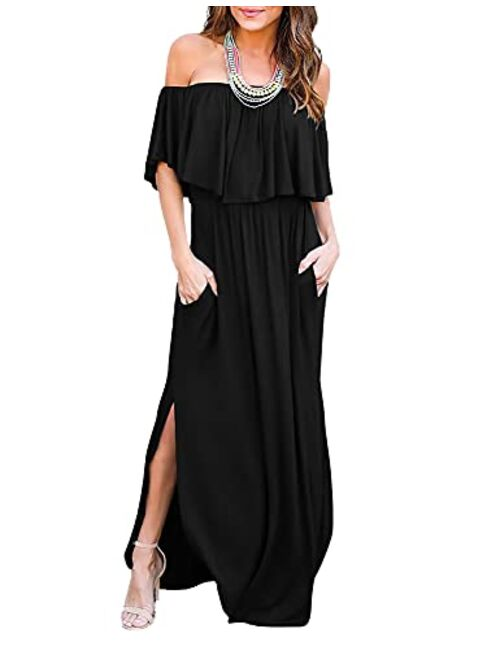 THANTH Off The Shoulder Ruffle Party Dresses Short Side Slit Beach Maxi Dress