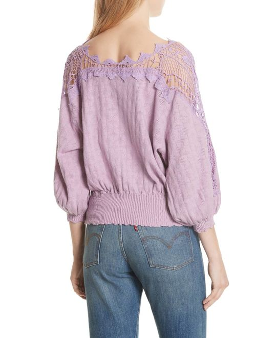 Free People Juniors Lace-Trim Peasant Sweater Lavender S