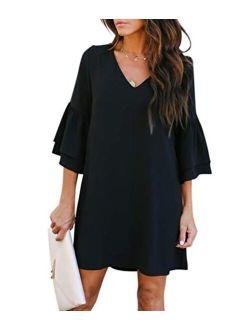 BELONGSCI Sweet & Cute V-Neck Bell Sleeve Shift Dress Mini Dress