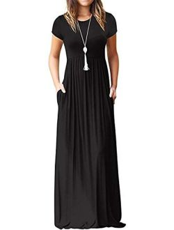 Short Sleeve Loose Plain Casual Long Maxi Dresses With Pockets