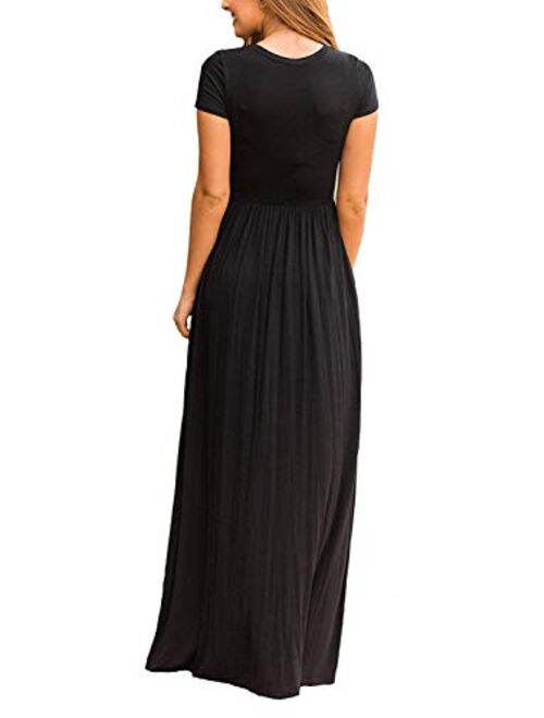 DEARCASE Short Sleeve Loose Plain Casual Long Maxi Dresses With Pockets
