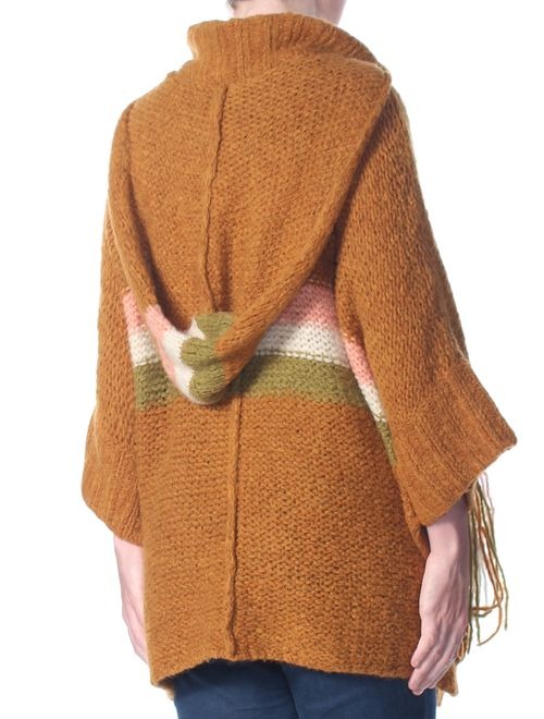 FREE PEOPLE Womens Brown Desert Sunrise Hooded Sweater Size: XS