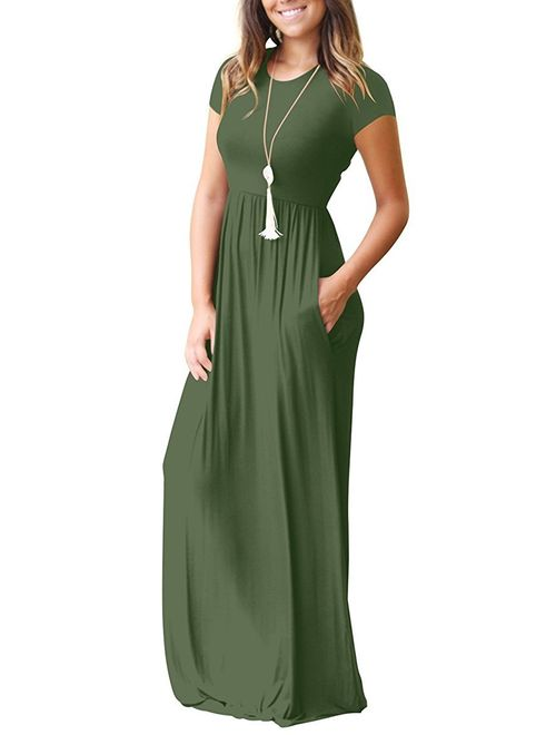 AUSELILY Short Sleeve Loose Plain Casual Long Maxi Dresses with Pockets