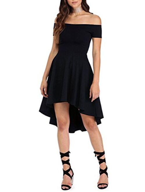 Sidefeel Women Off The Shoulder Short Sleeve High Low Hem Club Cocktail Skater Dress