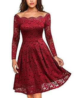 MISSMAY Women's Vintage Floral Lace Off Shoulder Cocktail Formal Swing Dress