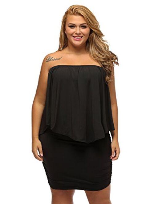 Sidefeel Women Off Shoulder Ruffles Bodycon Mini Dress