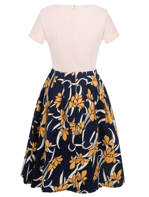oxiuly Women's Vintage Patchwork Pockets Puffy Swing Casual Party Dress OX165