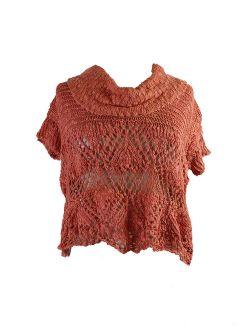 Orange Eternal Delight Open-stitch Cowl-neck Pullover Xs