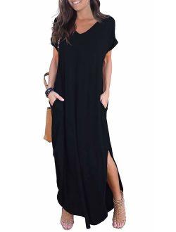 Loose Pocket Long Dress Short Sleeve Short Side Slit Casual Maxi Dresses