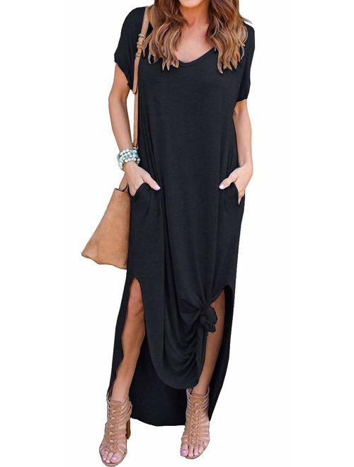 GRECERELLE Loose Pocket Long Dress Short Sleeve Short Side Slit Casual Maxi Dresses