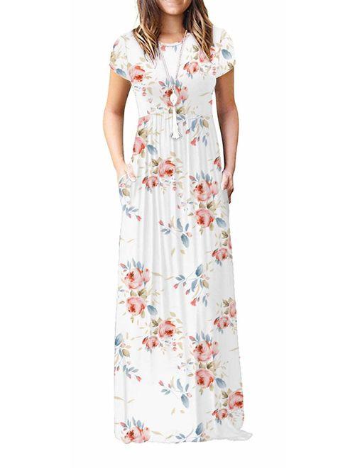 Viishow Floral Short Sleeve Loose Plain Maxi Summer Dresses With Pockets