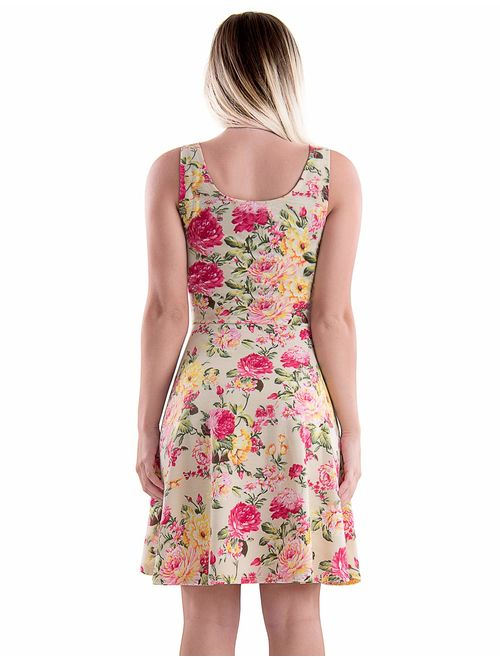 TAM WARE Womens Casual Fit and Flare Floral Sleeveless Dress