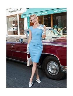 MUXXN Women's Retro 1950s Style Sleeveless Slim Business Pencil Dress