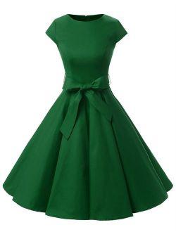 Dressystar Cap-Sleeve Vintage 1950s Retro Rockabilly Prom Dresses With Belt