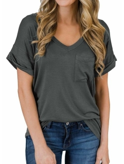 MIHOLL  Short Sleeve V-Neck Shirts Loose Casual Tee T-Shirt