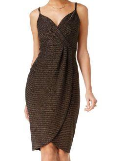 New Black Gold Womens Size 6 Metallic Tulip-hemsheath Dress