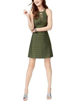 Womens Halter Lace Up Mini Dress
