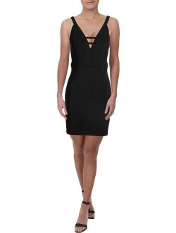 Womens Black Darted Zippered Low Back V Neck Above The Knee Sheath Evening Dress Size: 6