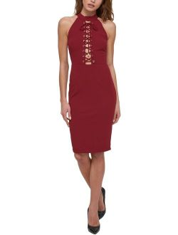 Womens Cocktail Halter Party Dress Red 2