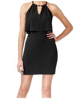 New Deep Black Womens Size 6 Cutout Halter Popover Sheath Dress