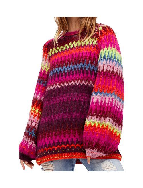 Free People Womens Castles In The Sky Knit Sweater multi L