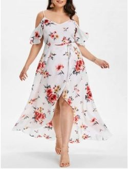 Plus Size Women Print Spaghetti Strap Chiffon Dress