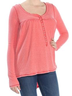 Womens Red Long Sleeve Scoop Neck Hi-lo Top Size: M
