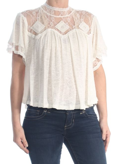 FREE PEOPLE Womens Ivory Lace Pleated Short Sleeve Wear To Work Top Size: S