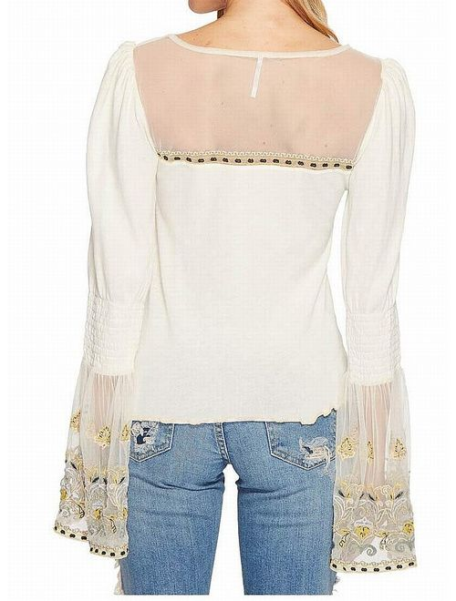 Free People Womens High Tides Knit Blouse ivory L