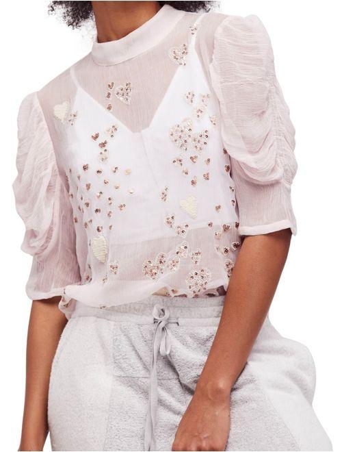 Free People Womens Large Embellished Sheer Blouse