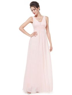 Women's Elegant Long Maxi V Neck Chiffon Evening Cocktail Prom Party Bridesmaid Wedding Guest Formal Dresses For Women 08110 (pink 4 Us)