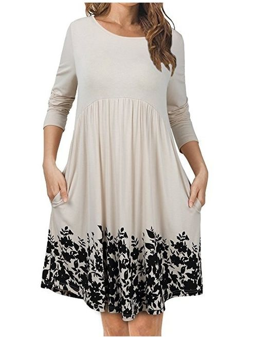 T Shirts Dress Winter Pockets Long Sleeve Floral Print Pleated Tunic Dress Swing Dresses for Women